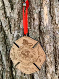 Fire Department Christmas Ornament - South City Woodworks wooden american flag military law enforcement first responder firefighter army navy air force marines retirement gift st louis custom