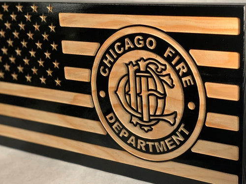 Chicago Fire Department - South City Woodworks wooden american flag military law enforcement first responder firefighter army navy air force marines retirement gift st louis custom personaliz