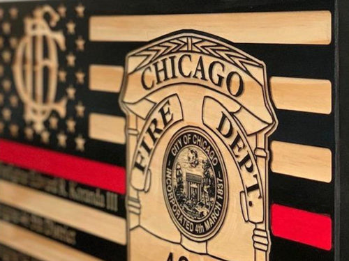 Chicago Fire Badge Flag - South City Woodworks wooden american flag military law enforcement first responder firefighter army navy air force marines retirement gift st louis custom personaliz