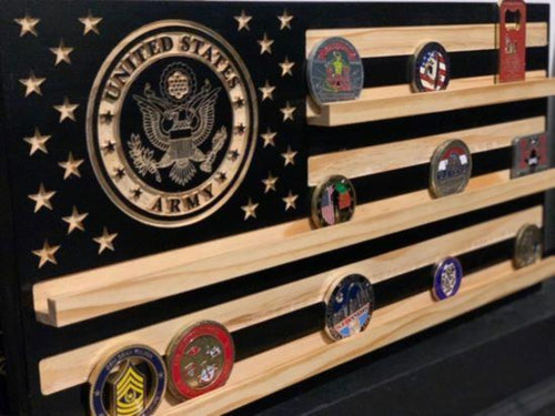 American Flag Coin Holder - South City Woodworks wooden american flag military law enforcement first responder firefighter army navy air force marines retirement gift st louis custom personal