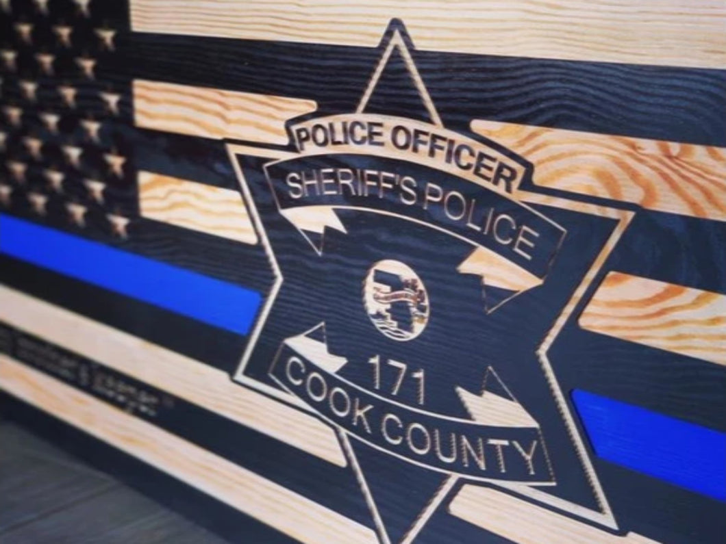 Cook County Sheriff Flag - South City Woodworks wooden american flag military law enforcement first responder firefighter army navy air force marines retirement gift st louis custom personali