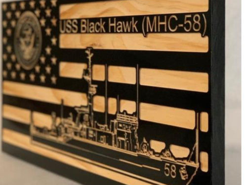 USS Black Hawk (MHC-58) Flag - South City Woodworks wooden american flag military law enforcement first responder firefighter army navy air force marines retirement gift st louis custom personalized