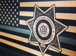 Tennessee Department of Corrections Badge Flag - South City Woodworks wooden american flag military law enforcement first responder firefighter army navy air force marines retirement gift st