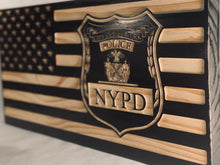 Load image into Gallery viewer, NYPD Patrolman Flag - South City Woodworks wooden american flag military law enforcement first responder firefighter army navy air force marines retirement gift st louis custom personalized