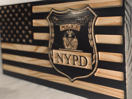 NYPD Patrolman Flag - South City Woodworks wooden american flag military law enforcement first responder firefighter army navy air force marines retirement gift st louis custom personalized