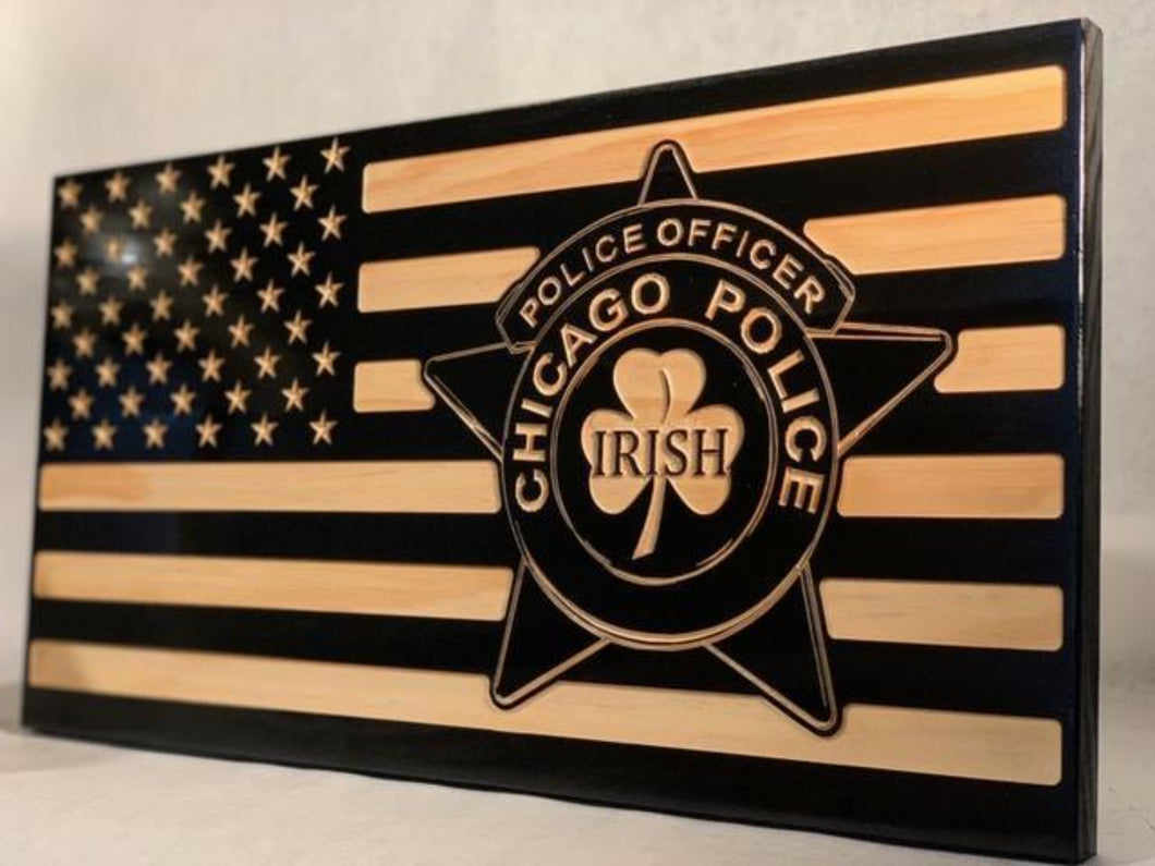 Chicago PD Irish Officer Flag - South City Woodworks wooden american flag military law enforcement first responder firefighter army navy air force marines retirement gift st louis custom personalized