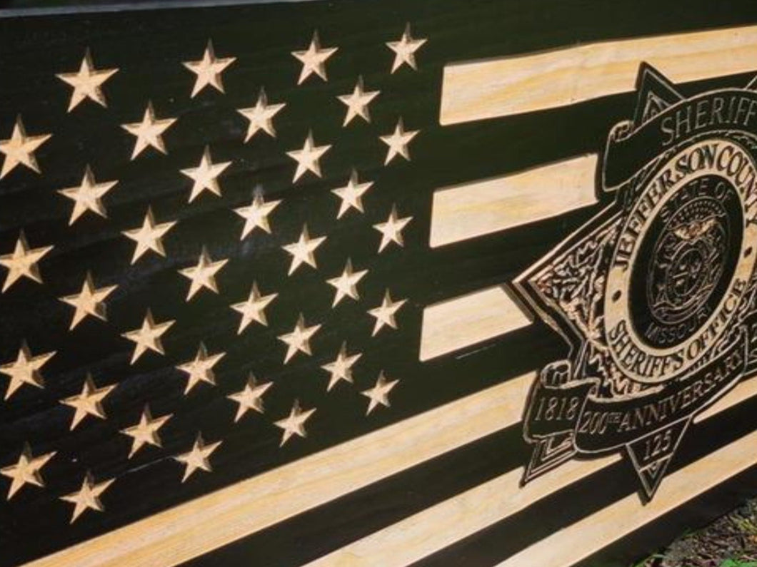 Jefferson County Sheriff Badge Flag - South City Woodworks wooden american flag military law enforcement first responder firefighter army navy air force marines retirement gift st louis custo