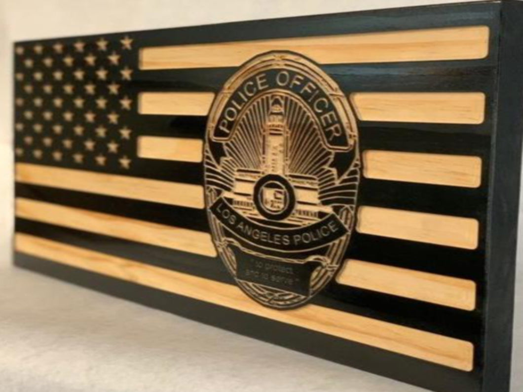 LAPD Officer Badge Flag - South City Woodworks wooden american flag military law enforcement first responder firefighter army navy air force marines retirement gift st louis custom personalized