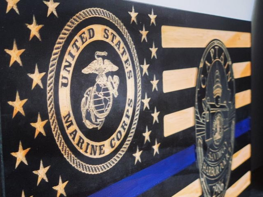 Law Enforcement/Marine Corps Flag - South City Woodworks wooden american flag military law enforcement first responder firefighter army navy air force marines retirement gift st louis custom