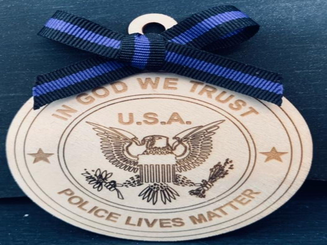 Police Lives Matter Christmas Ornament - South City Woodworks wooden american flag military law enforcement first responder firefighter army navy air force marines retirement gift st louis cu