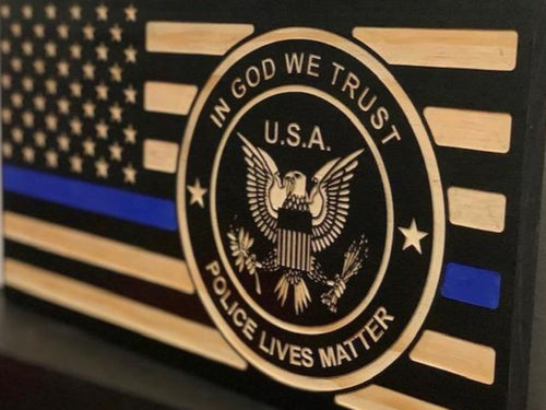 Police Lives Matter Flag - South City Woodworks wooden american flag military law enforcement first responder firefighter army navy air force marines retirement gift st louis custom personali
