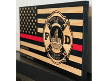 Load image into Gallery viewer, STL Fire Dept Captain Flag - South City Woodworks wooden american flag military law enforcement first responder firefighter army navy air force marines retirement gift st louis custom persona