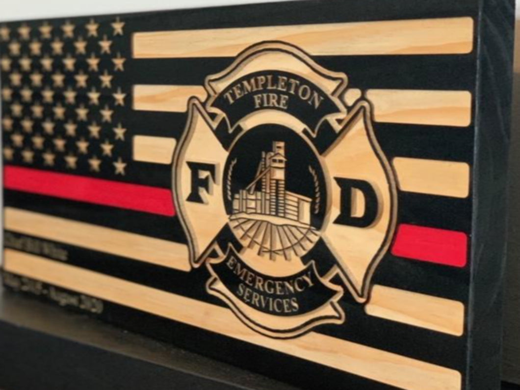 Templeton Fire Department - South City Woodworks wooden american flag military law enforcement first responder firefighter army navy air force marines retirement gift st louis custom personal
