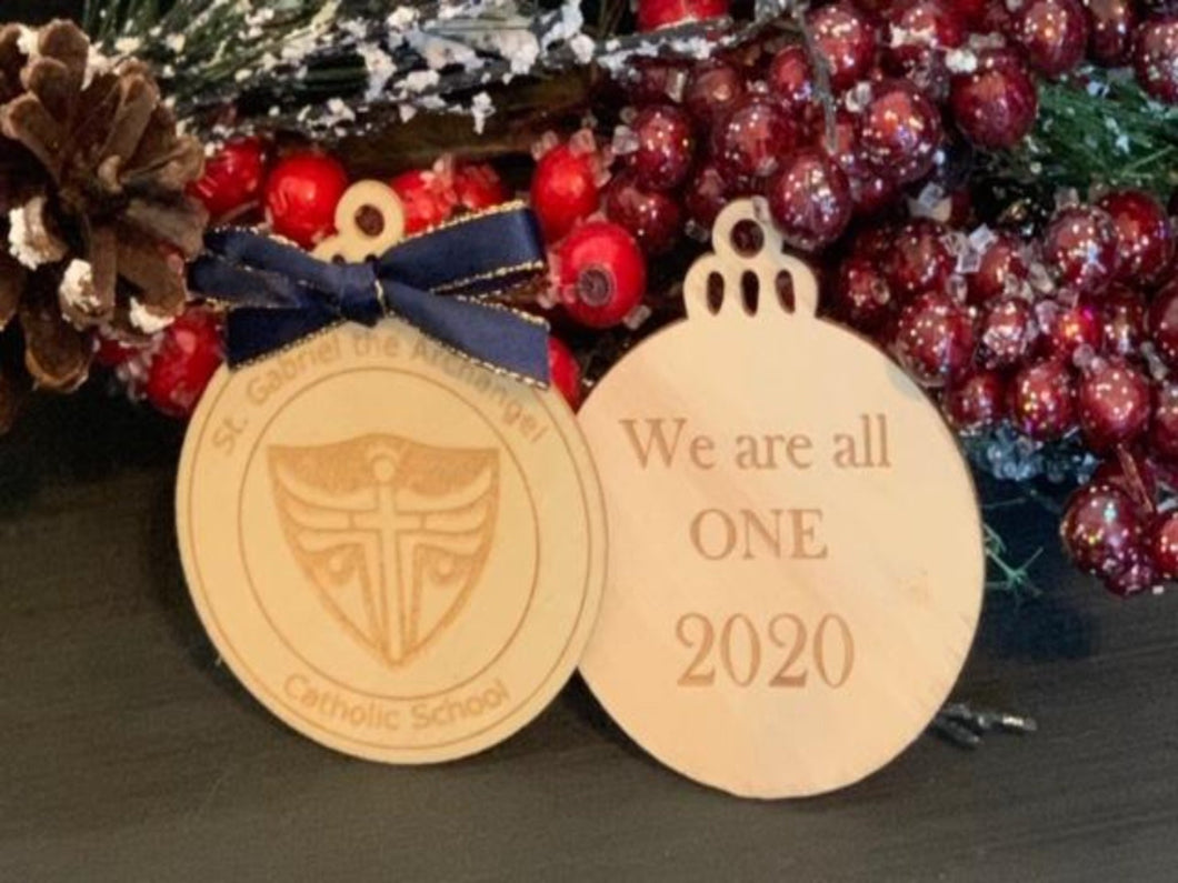 St. Gabriel the Archangel School Christmas Ornament - South City Woodworks wooden american flag military law enforcement first responder firefighter army navy air force marines retirement gif
