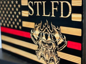 STL FIRE Flag - South City Woodworks wooden american flag military law enforcement first responder firefighter army navy air force marines retirement gift st louis custom personalized