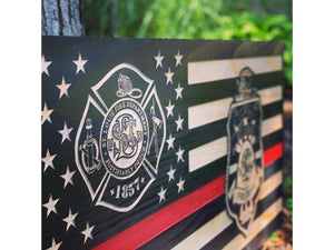 Custom -- 2 Badge Flag - South City Woodworks wooden american flag military law enforcement first responder firefighter army navy air force marines retirement gift st louis custom personalize