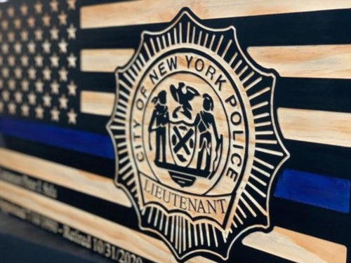 NYPD Lieutenant Badge Flag - South City Woodworks wooden american flag military law enforcement first responder firefighter army navy air force marines retirement gift st louis custom persona
