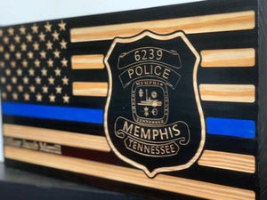 Memphis PD Badge Flag - South City Woodworks wooden american flag military law enforcement first responder firefighter army navy air force marines retirement gift st louis custom personalized