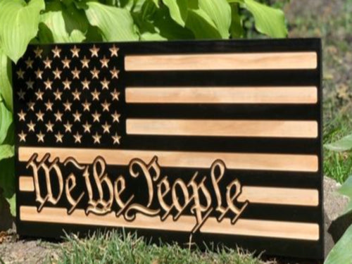 We the People - South City Woodworks wooden american flag military law enforcement first responder firefighter army navy air force marines retirement gift st louis custom personalized