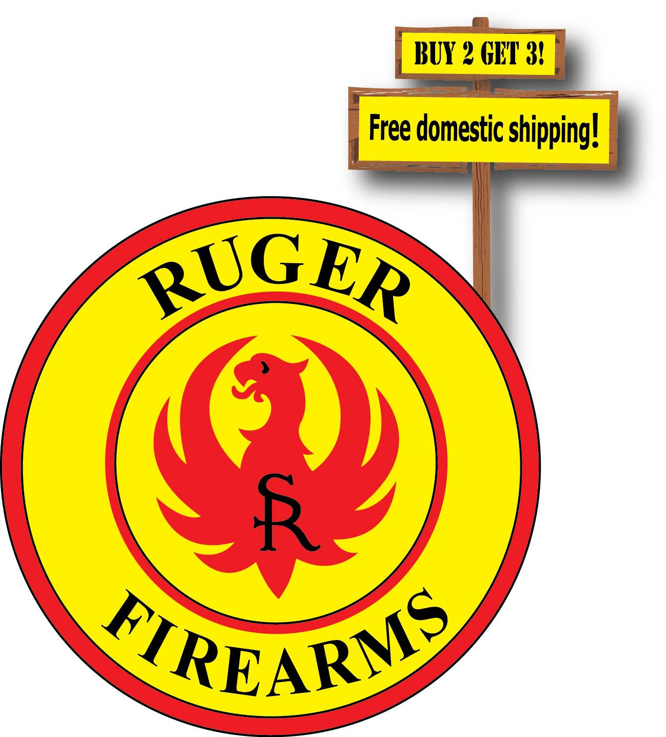 Banksy panda with guns sticker truck stickers logos and vinyl - Ruger Fire Arms Logo Vinyl Defense Guns Weapons Full Color Decal Sticker Buy 2 Get 3 Free Shipping