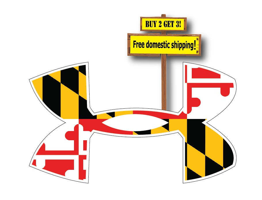 Under Armour Logo With Maryland Flag Decal Sticker Free Shipping