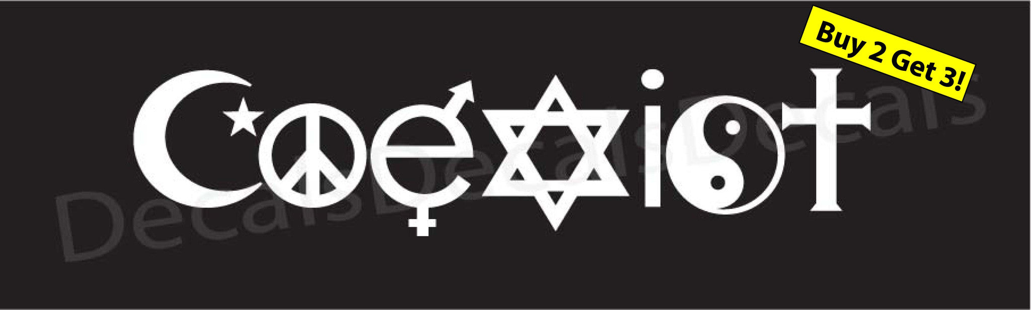 Coexist decal sticker window lap top auto cant we all just get along free ship