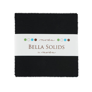 Bella Solids Charm Pack Black