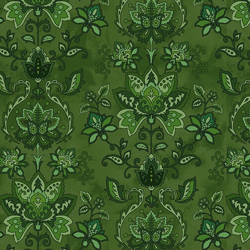 Jacobean Joyeux Damask - Green