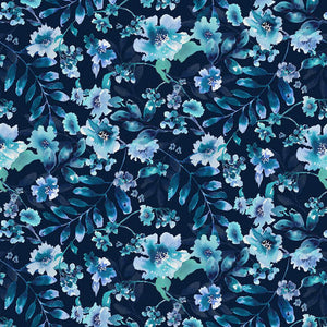 Midnight Sapphire - Watercolor Large Floral