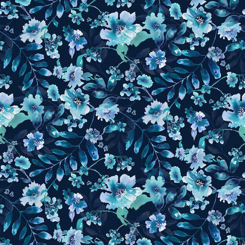Midnight Sapphire - Watercolor Large Floral Navy