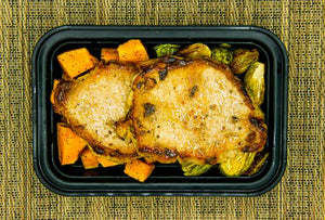 Baked Chops, Brussels and Sweet Potatoes