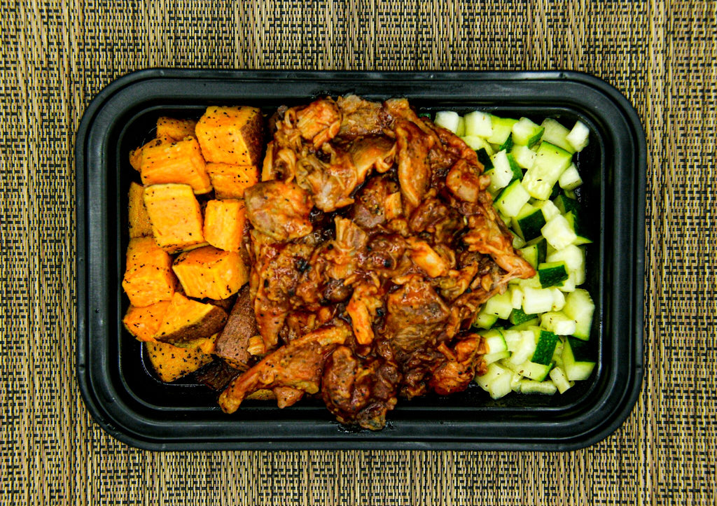 Pulled BBQ Chicken, Sweet Potato and Zuchinni