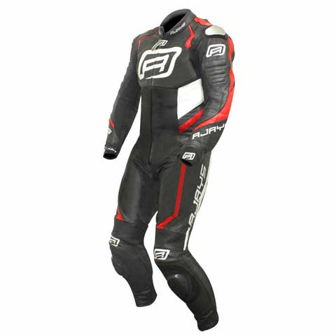Rjays Stealth 3 one piece leather suit in black/fl red/white
