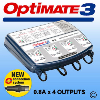 Optimate 3x4 - 4-channel automatic battery optimiser for motorcycle sized batteries (recommended for AGM / MF, STD, GEL and spiral cell batteries from 3Ah to 50Ah)
