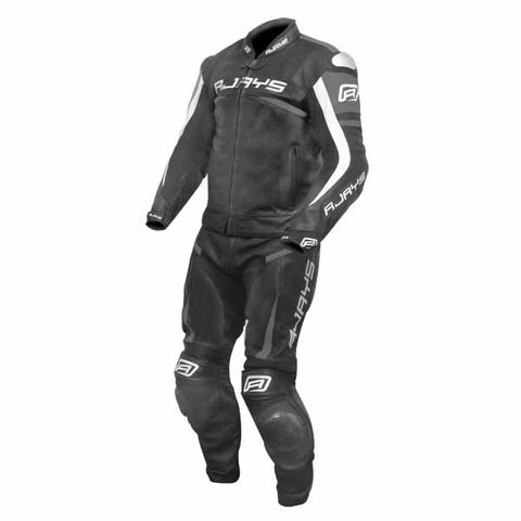 Rjays Samurai 3 two piece leather suit in black and ti. grey