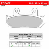 FR-FDB452 - (8.5mm thick) - Drawing NOT to scale - (pads also available 9.8mm thick - see FR-FDB663)