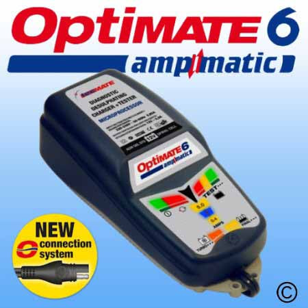 Optimate 6 - ideal for any 12V lead/acid battery from 15Ah to 240Ah which needs to be maintained ready for instant service