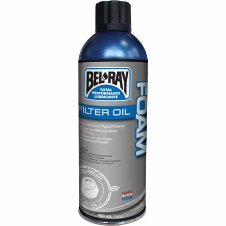 Bel-Ray Foam Filter Oil is an aerosol air filter oil for all street, off-road and racing foam air filter applications.