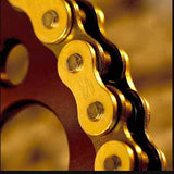 Renthal R1 MX Works Chains have inner links which are chamfered (excluding the 420) - this process helps reduce the chain of chain derailment in the toughest conditions.