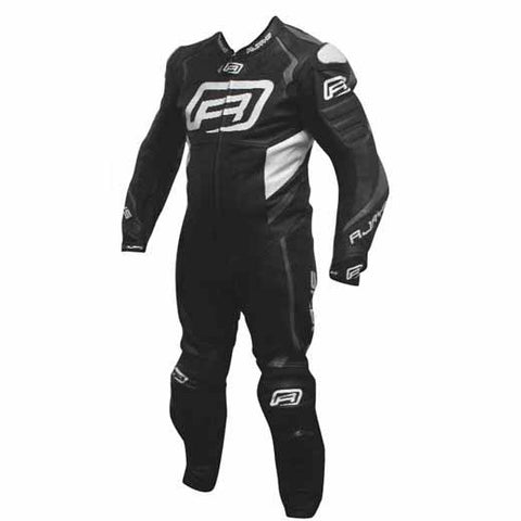 Rjays Stealth 3 one piece leather suit in black/ti. grey/white