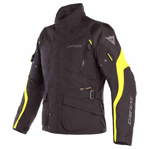 Dainese Tempest 2 D-Dry textile jacket is available for men in black/fluro yellow colourway (shown)