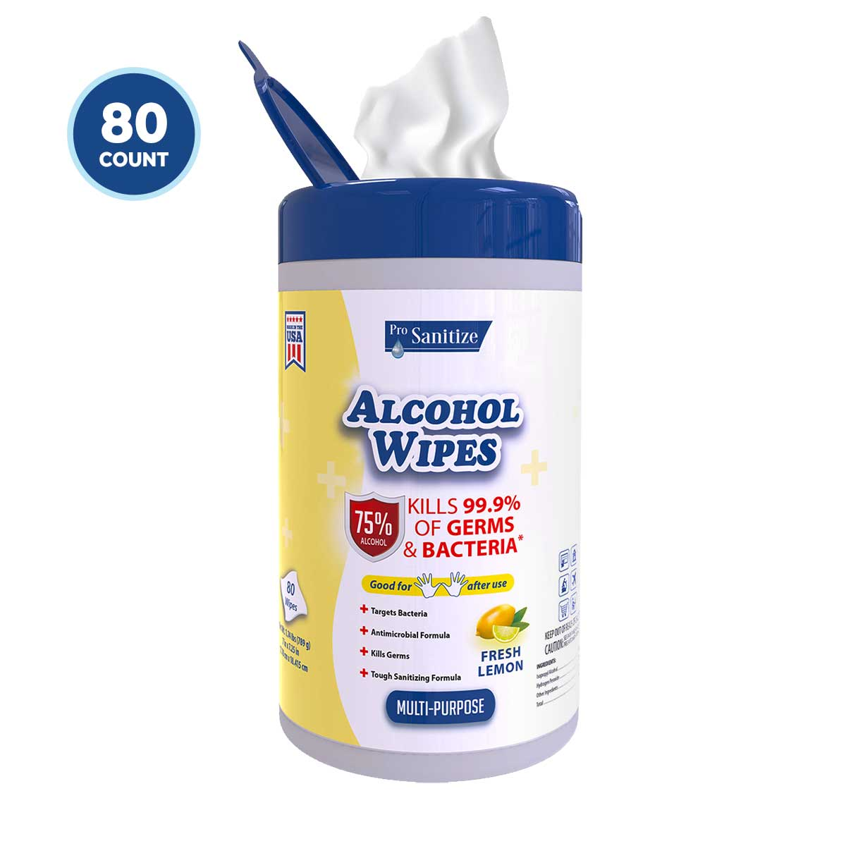 Multi-Purpose Disinfectant Wipes 75% Alcohol Fresh Lemon Scent - Think360 Inc