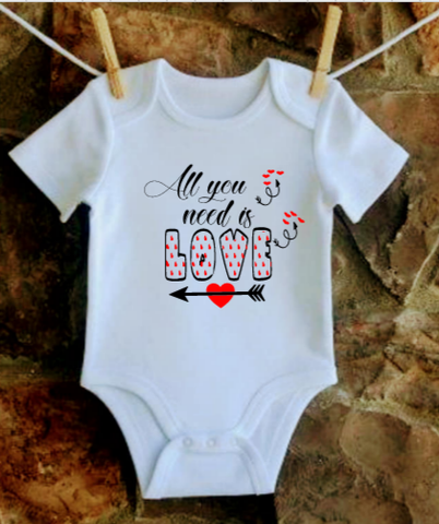 All You Need is Love baby Valentine Shirt - SouthernHearth Custom Tees & More