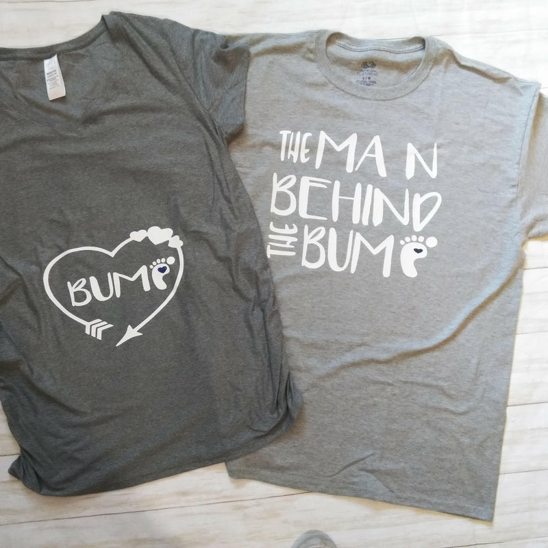 Couples Maternity Shirt Set- Man Behind the Bump, Bump Maternity Shirt