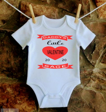 Daddy is My Valentine/ Mommy is my Valentine baby shirt - SouthernHearth Custom Tees & More