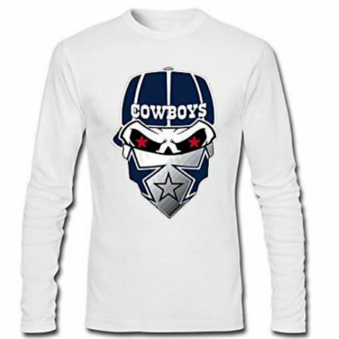 Dallas Cowboys Lol Sleeve T Shirt with Skull - SouthernHearth Custom Tees & More