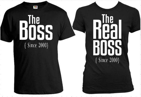 The Boss and REAL Boss Matching  Couples Shirt Set - SouthernHearth Custom Tees & More
