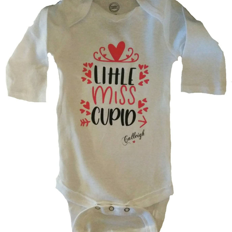 Little Miss Cupid baby girl Valentine's bodysuit. Personalized girl Valentine's shirt. White and red baby girl Valentine's Day outfit