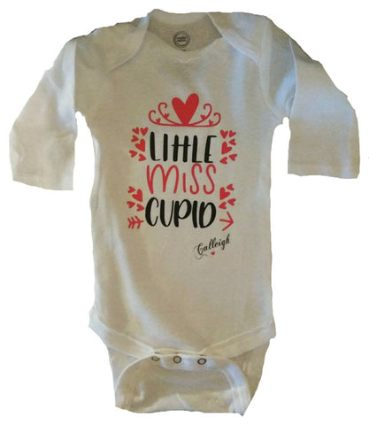 Little Miss Cupid baby girl Valentine's bodysuit. Personalized girl Valentine's shirt. White and red baby girl Valentine's Day outfit - SouthernHearth Custom Tees & More