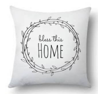 Bless this home inside Laural wreath pillowcase. Throw pillow/ rustic throw pillow